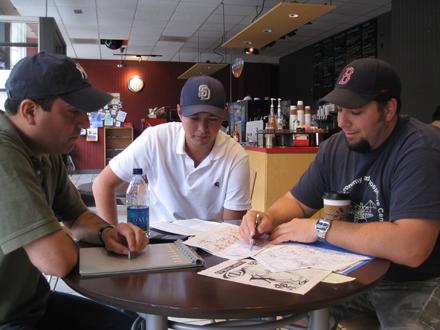 Translator Jahaziel Rodriquez flanked by authors Ben Perez and Matt Rothblatt