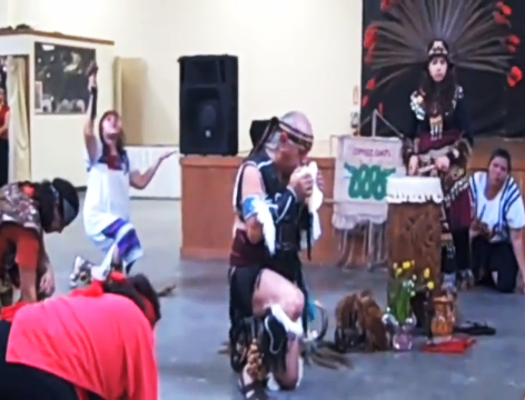 Aztec dance by Danza Azteca Chichimeca Omeocatl at Mercado Mayapán (Pamela Prieto/Borderzine.com)