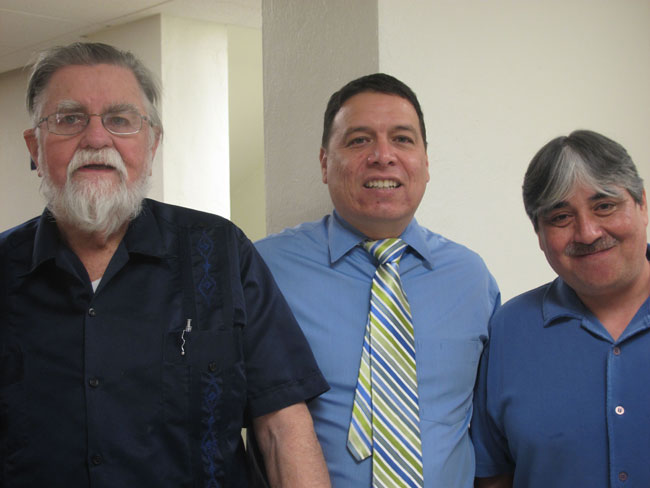 Ericksen with UTEP's Communication Department Chair Dr. Frank Perez and son Carlos Ericksen (Zita Arocha/Borderzine.com)