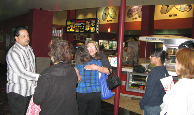 Film watchers approach Anthony and Audrey Teran after A Nightmare in Las Cruces premiere (Alex Morales/Borderzine.com)