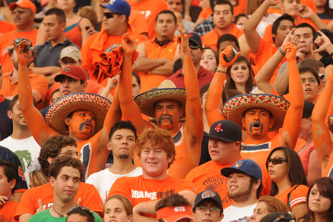 Miners fans at a football game. (Photo by Brian Kanof, courtesy of UTEP Athletics)