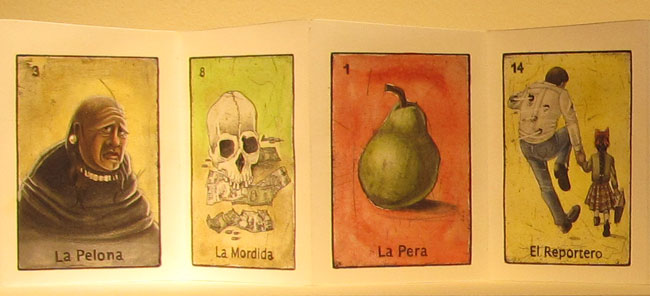 The bold lady (left) and the reporter (right) are some of the characters depicted by artist Yvianna Hernandez in her La Loteria Fronteriza. (Lucía Murguía/Borderzine.com)