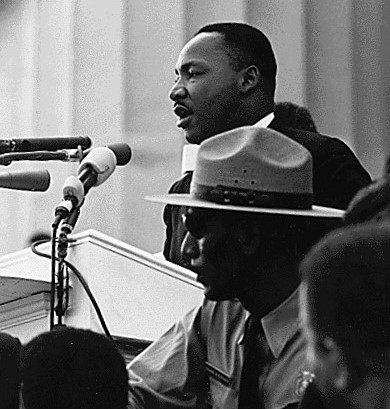 "Dr. Martin Luther King giving his ""I Have a Dream"" speech during the March on Washington in Washington, D.C., on 28 August 1963. (Work in the public domain in the United States under the terms of 17 U.S.C. § 105)"