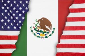 Mexican flag inside an American flag