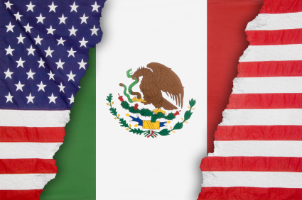 Mexican flag inside an American flag