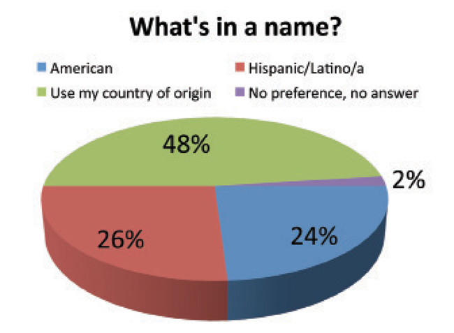 In 2006, the Pew Hispanic Center polled 2000 Americans with roots in the Spanish-speaking community and asked how they chose to identify themselves on first reference. Above are the results of the survey. (Graphic by Max Hrenda)