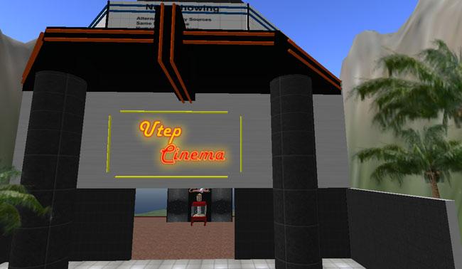 Entrance to UTEP Cinema on Second Life. (Elisa Terrazas/Borderzine.com)