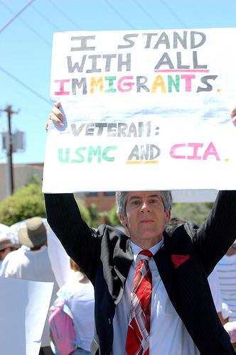 The former president marches against SB1070. (George Thomson/Borderzine.com)