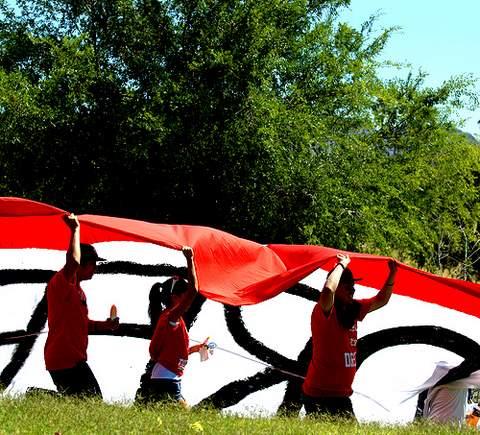 Kids in protest. (George Thomson/Borderzine.com)