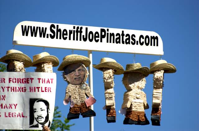 Sheriff Joe's party pinatas. (George Thomson/Borderzine.com)