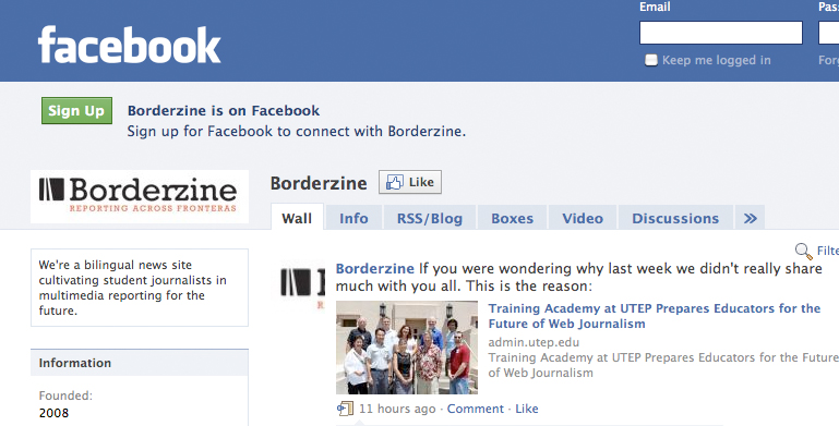 Borderzine's page on Facebook.