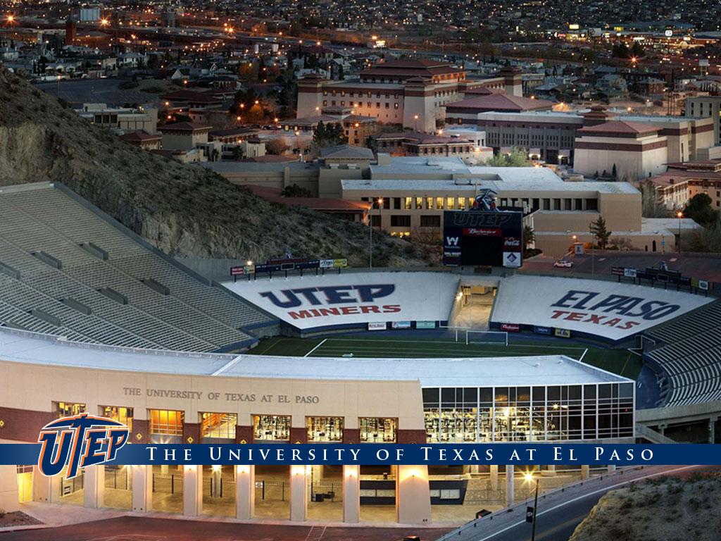 Vista aérea del estadio de futbol americano y el campus de UTEP. (Cortesía de UTEP)