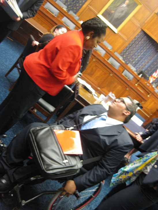 Villalobos talks to congresswoman Sheila Jackson Lee right after speaking before a congressional committee in Washington D.C. (Photo courtesy of Adrian Villalobos)