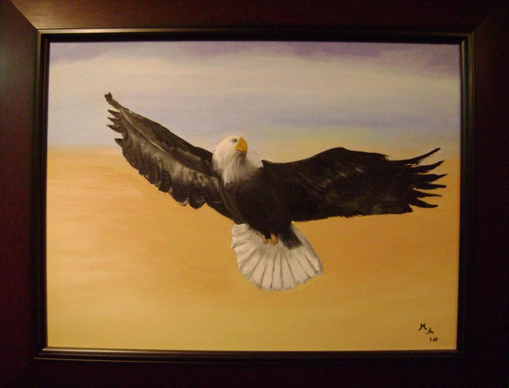 Águila, último cuadro pintado por Martha Arenas. (Jago Molinet/Borderzine.com)
