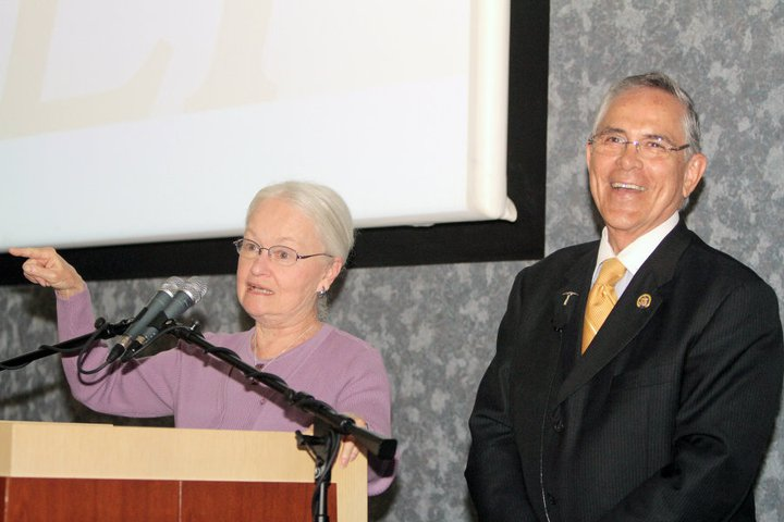 UTEP President, Diana Natalicio, introduces Congressman Ruben Hinojosa at The Millenium Lectures. (JR Hernandez/Courtesy of University Communications)