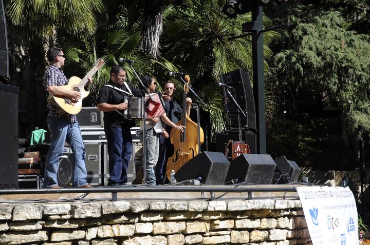 Los Pistoleros de Texas performing at San Antonio International Accordion Festival. (Patrick Desmond/Borderzine.com)