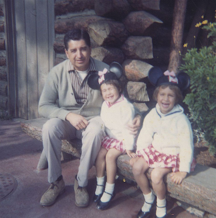Salazar at Disneyland with daughters Stephanie and Lisa.