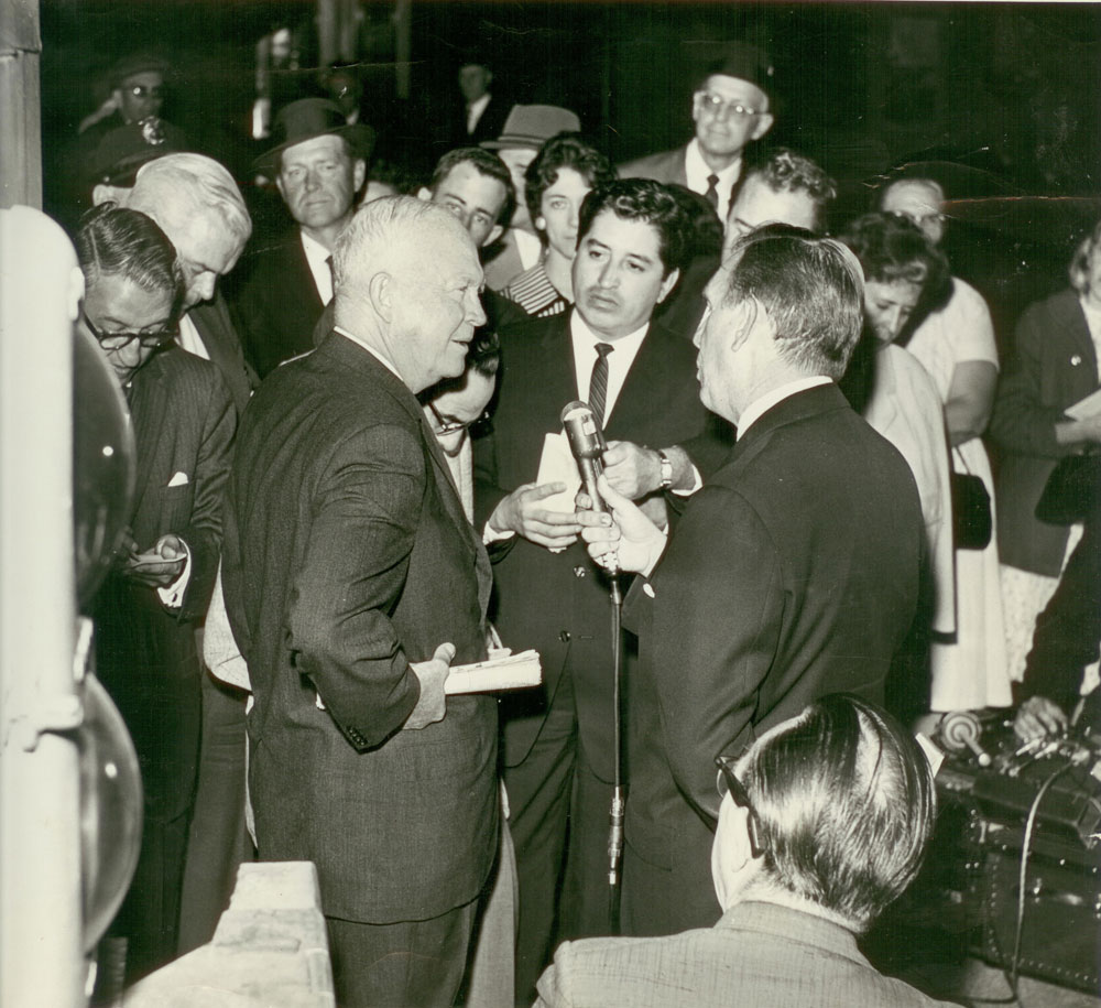 Salazar and other reporters interview former President Dwight D. Eisenhower, 1961.