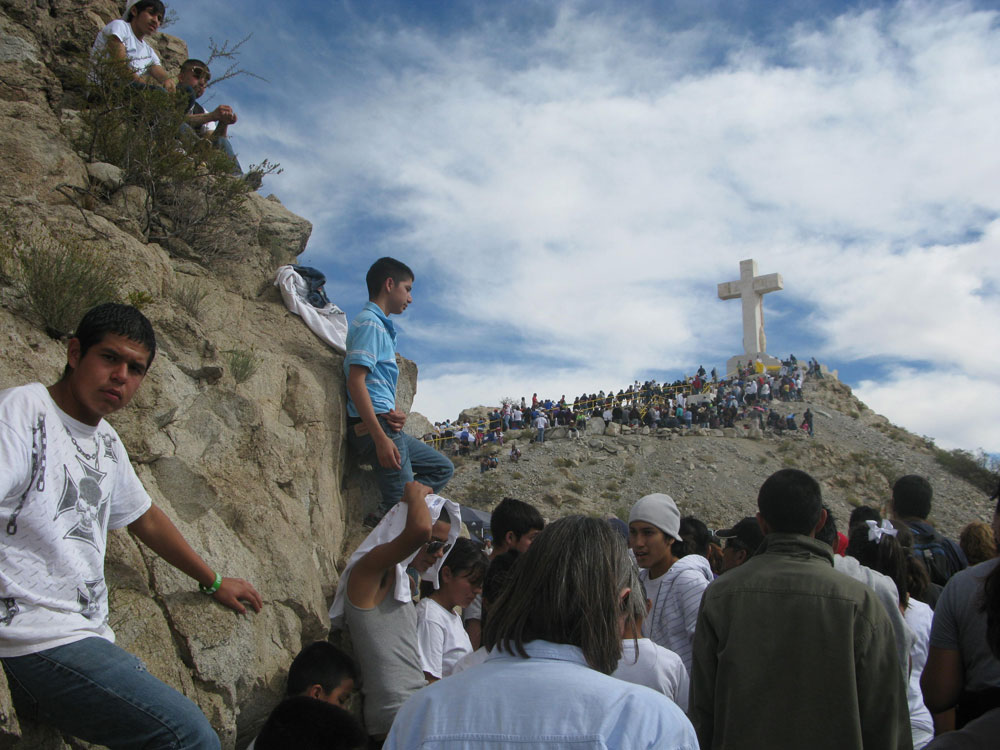 On the morning of October 31, an estimated 30,000 followers celebrated the Feast of Cristo Rey, an annual pilgrimage and Mass at Mount Cristo Rey. (John Del Rosario/Borderzine.com)