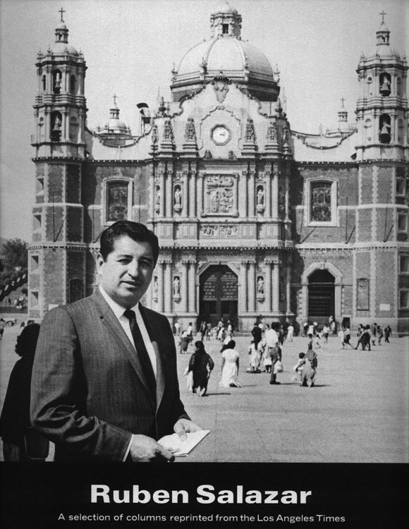 Salazar is shown in Mexico City in a booklet of his columns published by L.A. Times.