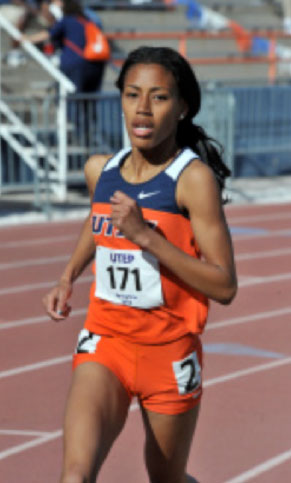 As I approach the tape, I am struggling with all my might, but while I'm using all of my technique, my body feels like it's not moving. My body is so tight that I feel like I am running in slow motion. (Courtesy of UTEP Athletics)