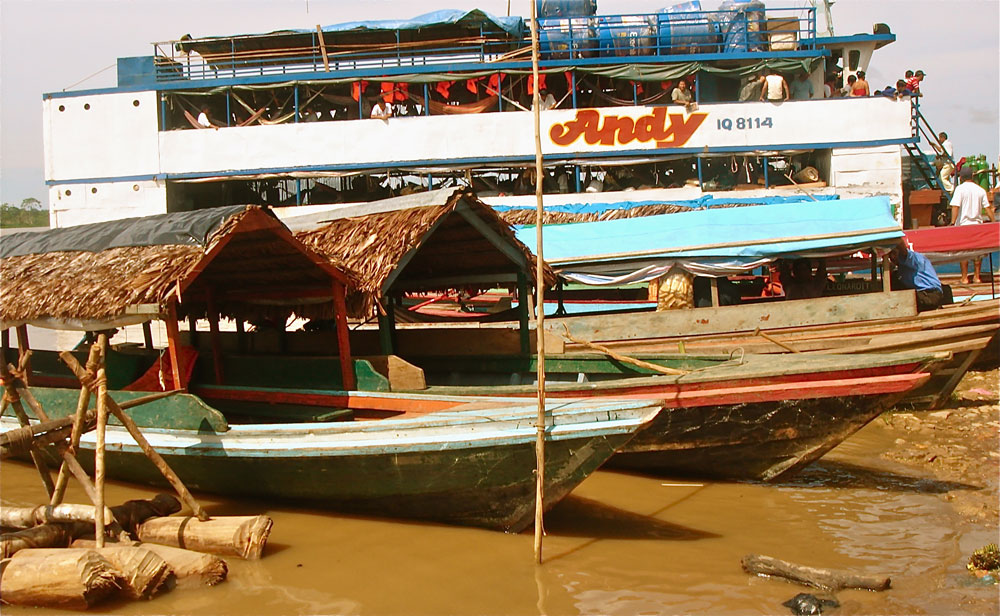 Pequepeques or boats, are the main mean of transportation on the Peruvian Amazon.
