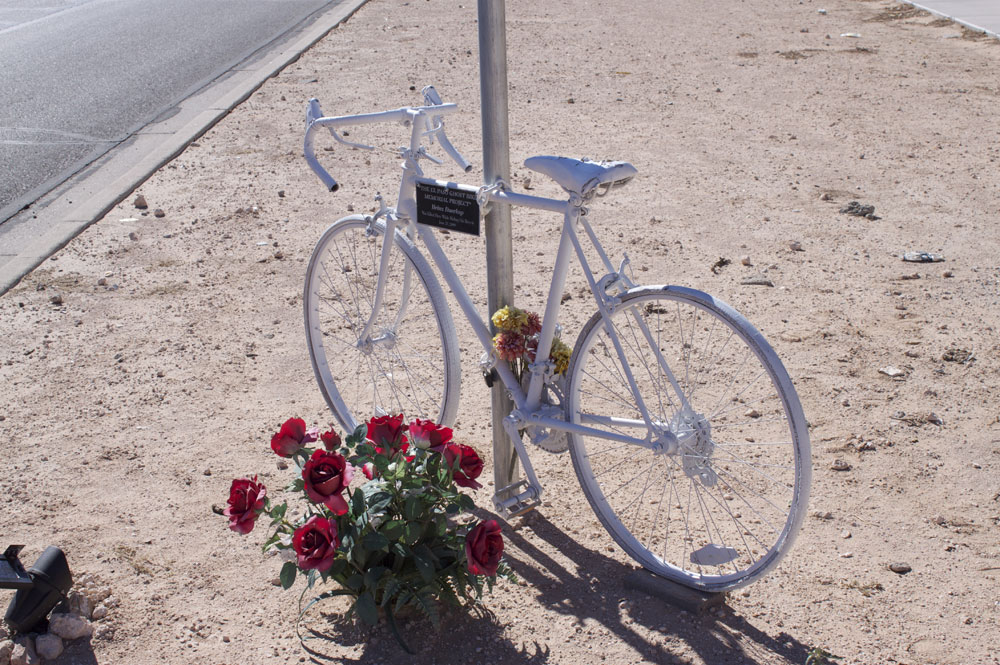 Heinz Duerkop's own bicycle memorializes his place of death at George Dieter and Pocahontas. (Francis Regalado/Borderzine.com)