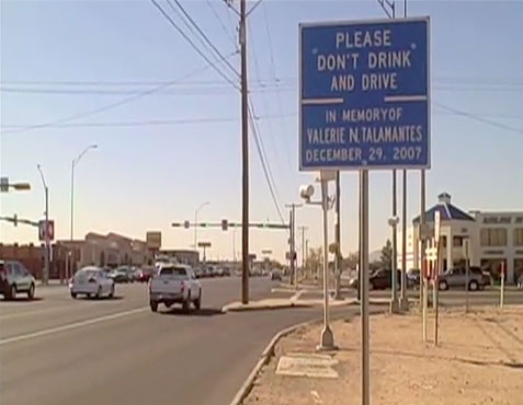 A sign to remember Valerie Talamantes is located at the intersection of Montana and Hawkins. (Justin Monarez/Borderzine.com)