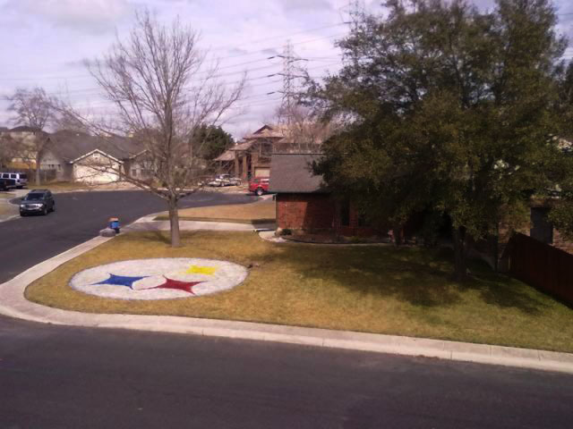 House of El Paso native, Tony Lucero, in San Antonio, Texas. Lucero was fined for painting the Steeler's logo on his yard. (Courtesy of Tony Lucero)