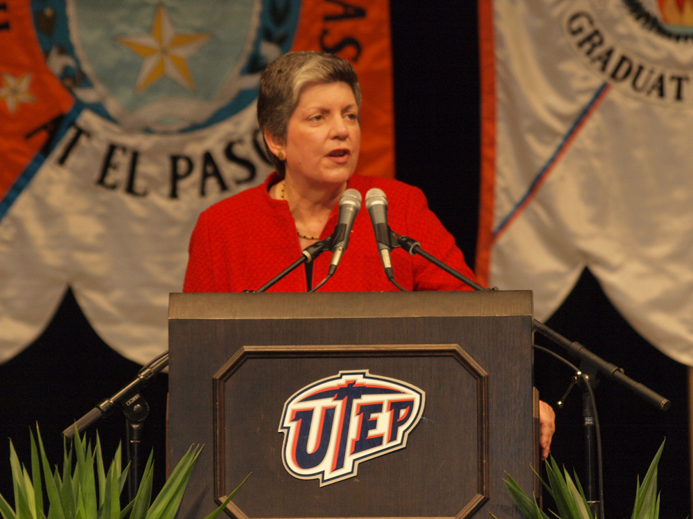 Department of Homeland Security Secretary Janet Napolitano at the University of Texas at El Paso (Robert Brown/Borderzine.com)