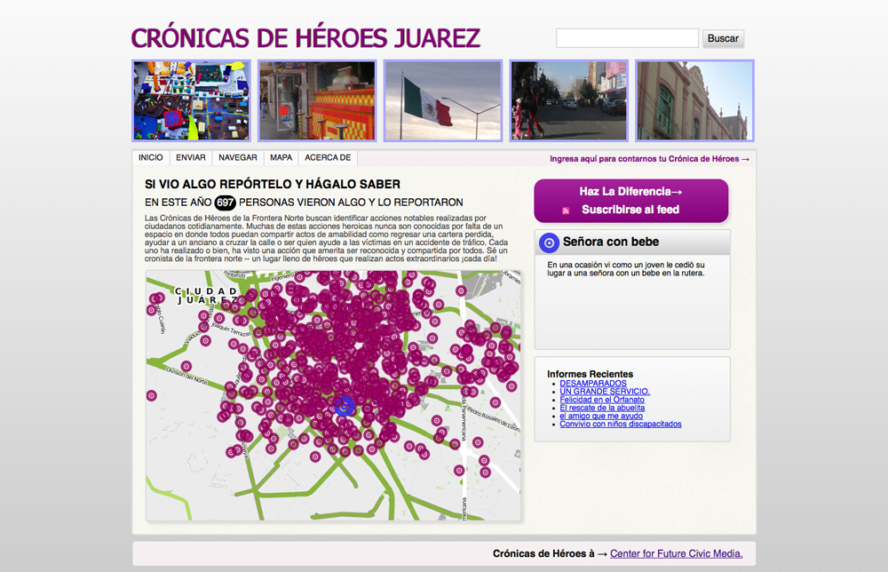 A map on http://juarez.heroreports.org/ shows where every reported story happened.