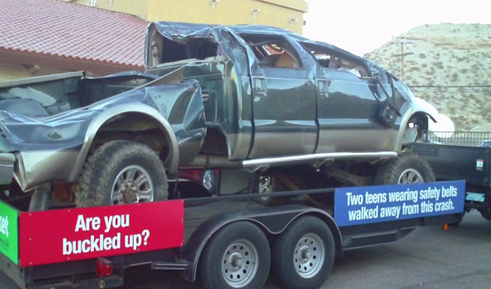 A wrecked vehicle is use as part of a prevention campaign by law enforcement departments. (Ytzel Arrunada/Borderzine.com)