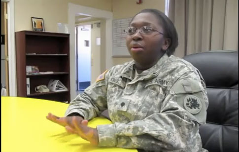 """If we are receiving the same training (then) why not... the ban should be lifted"" said specialist Shaunta Q. Jones from Fort Bliss. (Jacqueline Devine/Borderzine.com)"