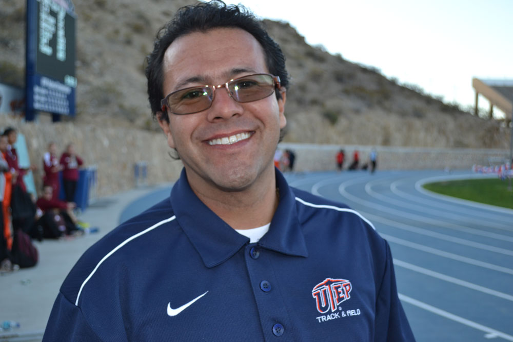 Pedro Lopez is an assistant coach for the UTEP Miners track and field team. (Kitria Stewart/Borderzine.com)