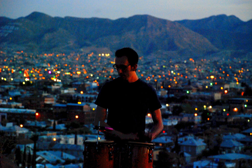 Percussionist at Echos in the Park. (Omar Lozano/Borderzine.com)