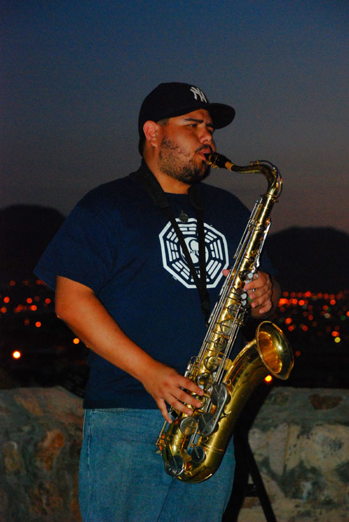 Richie David Marrufo on Sax for Echos in the Park. (Omar Lozano/Borderzine.com)