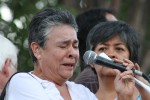 Luz María Dávila tells her testimony at the rally in Juarez. Two of her sons were killed in Villas de Salvacar. (Luis P. Hernandez)