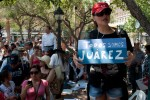 """We all are Juarez"" reads a sign at the Caravan for Peace held at San Jacinto Plaza. (David Acosta/Borderzine.com)"