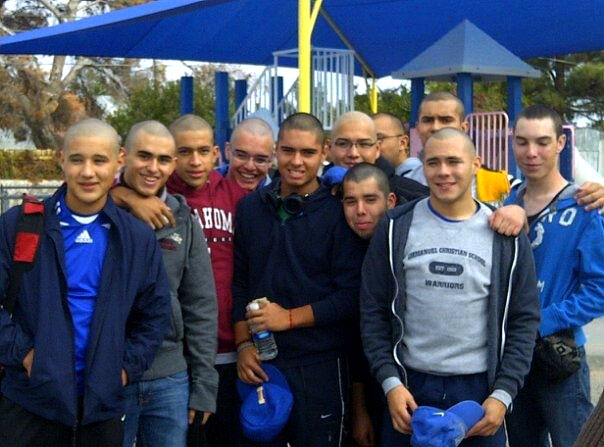Members of the Emanuel Warriors and friends shave thier heads to show support for Bobby. (Courtesy of Bobby Garcia)