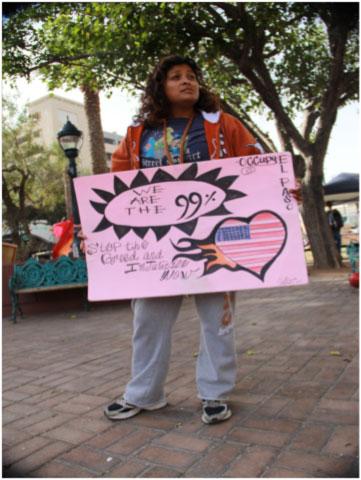 Fabiola Martinez, an Occupy El Paso participant. (Marcela Gonzalez/Borderzine.com)