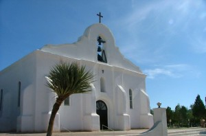 Beautifully renovated on the outside, San Elizario church is crumbling on the inside. (Kristopher Rivera/Borderzine.com)
