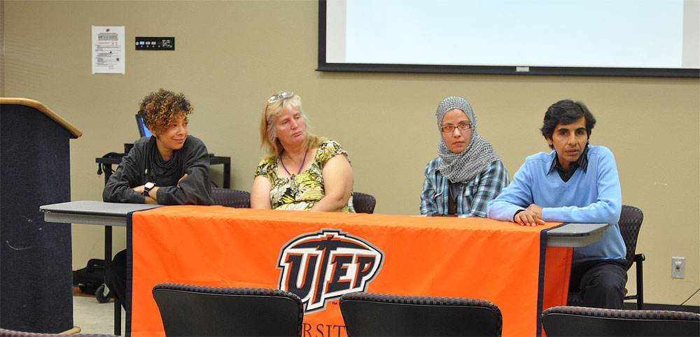 "From left to right: Vikki Steeneveld, foreign exchange students studying social work, Corene Seymour, social work graduate student, Samia Gramida, environmental sciences graduate student, and Oscar Lozoya, interdisciplinary studies graduate student, hold the ""Global perspectives on access for people with diverse abilities"" panel to discuss the role disabled people play in their cultures. (Aaron Martinez/Borderzine.com)"