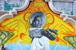 Artists Arturo Damasco painted legendary Mexican actor Carlos López Moctezuma. (Luis Hernández/Borderzine.com)