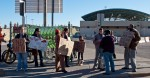 Some two dozen people from Occupy El Paso and Occupy Las Cruces flocked to the Santa Fe Bridge to protest NAFTA. (Robert Brown/Borderzine.com)