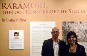 Photographer Diana Molina and Centennial Museum Director Bill Wood, want to provide an introduction to what Rarámuris are. (Guerrero García/Borderzine.com)