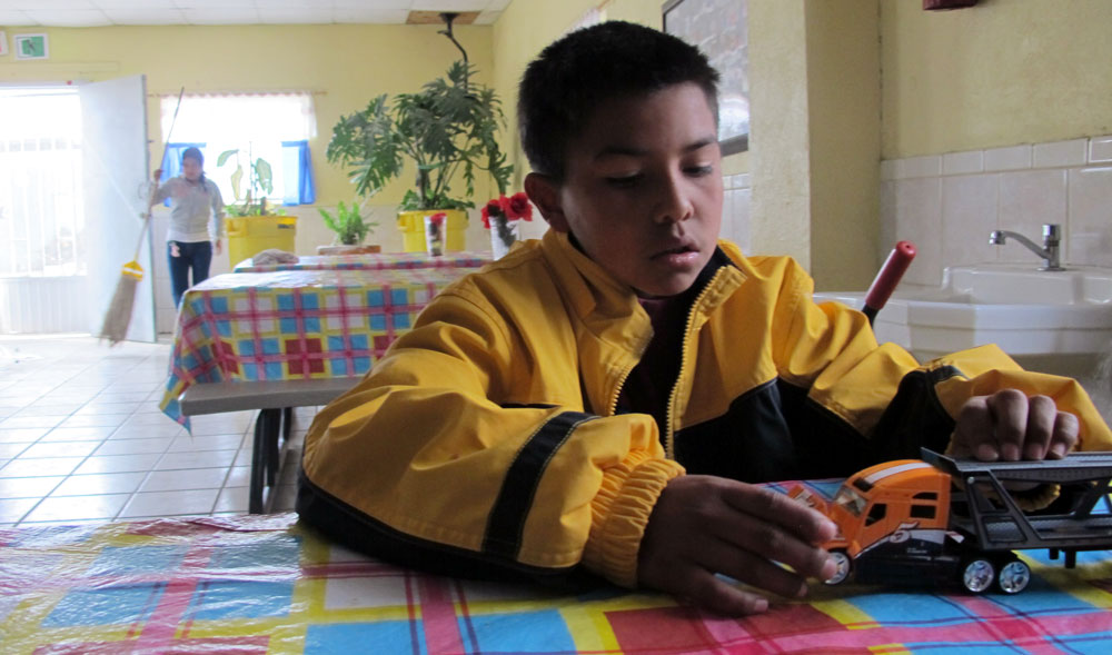Jovani, 9, wants to be a soldier when he grows up. (Idali Cruz/Borderzine.com)