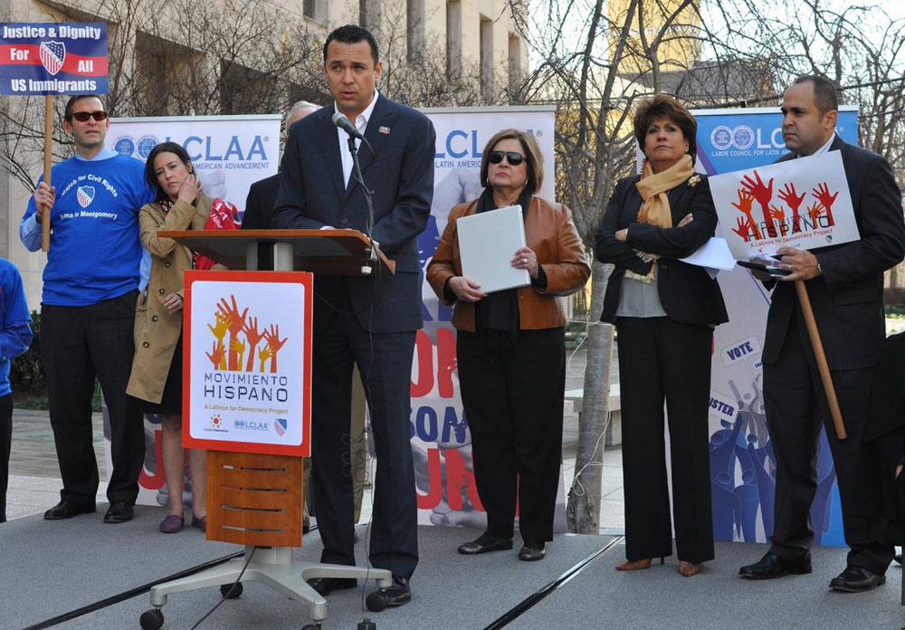 Brent A. Wilkes, left, LULAC; Roxana Olivas, D.C. Office of Latino Affairs; Hector Sanchez, of LCLAA; Margaret Moran, LULAC; Janet Murguia, NCLR, and Jose Calderon, Hispanic Federation, announce they will join the Selma to Montgomery March. (SHFWire photo)
