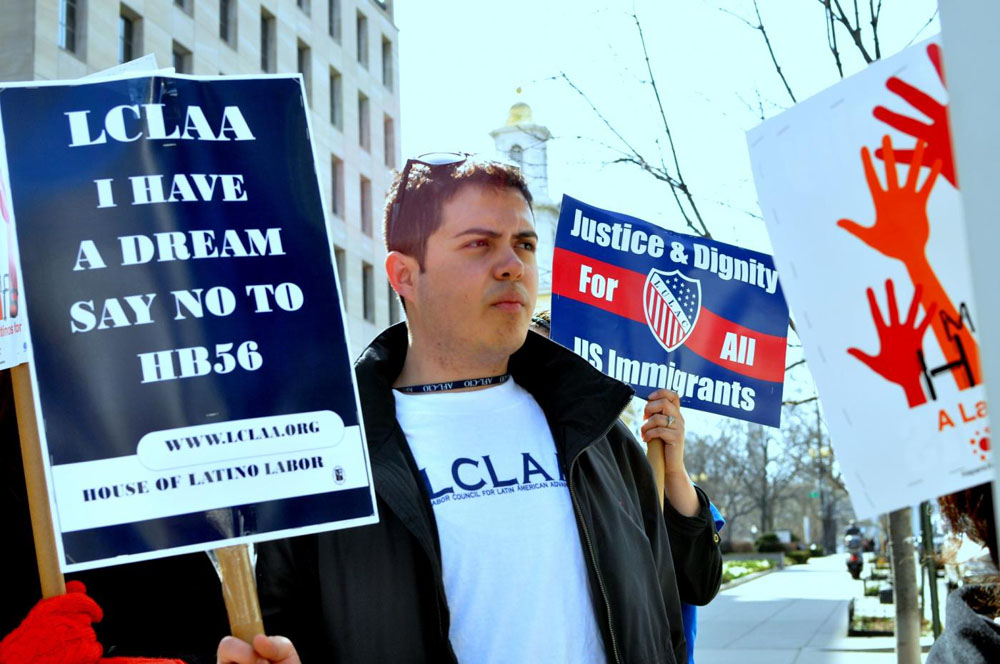 Juan Velasquez, 24, came to the U.S. when he was 14 years old and recently graduated from Georgetown University. He, along with fellow members of LCLAA, will participate in the Selma to Montgomery March this week. (Salvador Guerrero/SHFWire)