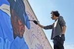 Artist Werc paints his version of contemporary history and culture of the region. (Guerrero Garcia /Borderzine.com)