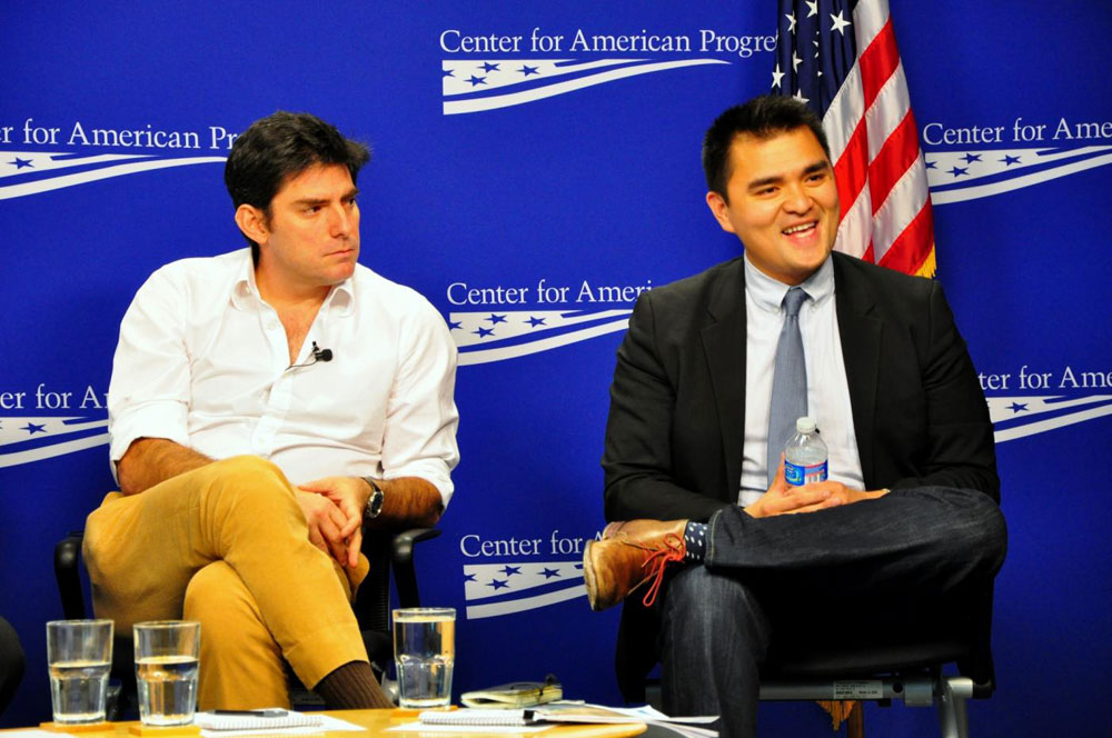 """Filmmaker Chris Weitz, left, and Pulitzer Prize winning journalist Jose Antonio Vargas teamed up to create a video project about Alabama's anti-immigration law called """"Is This Alabama?"""" (Salvador Guerrero/SHFWire)"""